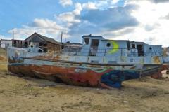 Khuzhir Hafen Graffiti altes Schiff-2
