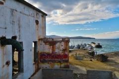 Khuzhir Hafen versunkenes Schiff