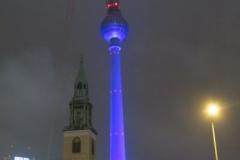 Sant Marienkirche bei Nacht - Alexanderplatz mit Alex