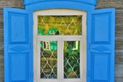 Blaue Fensterrahmen