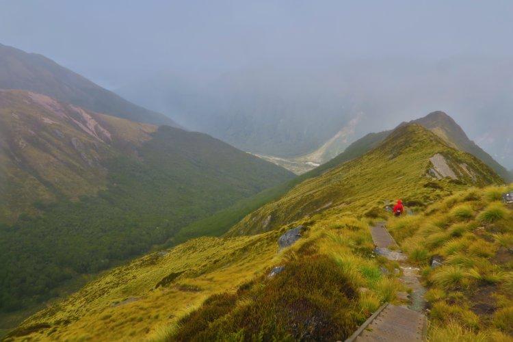 Abstieg-zur-Iris-Burn-Hut-über-Stufen