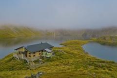 Angelus Hut - am Morgen im Nebel