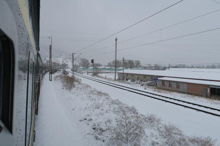 Chinesischer Zug im Schnee