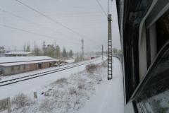 Transmongolische Eisenbahn im Schnee in China